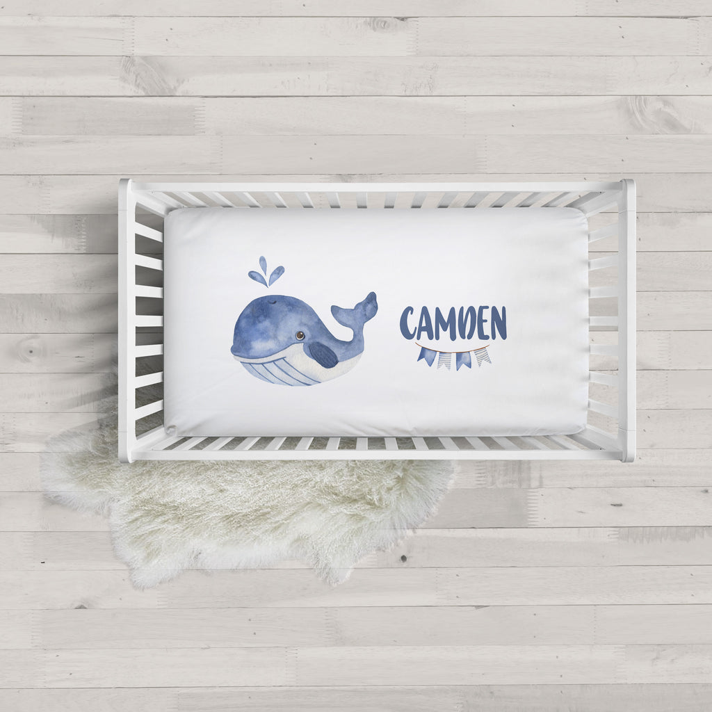 Nautical Whale Minky Personalized Crib Sheet