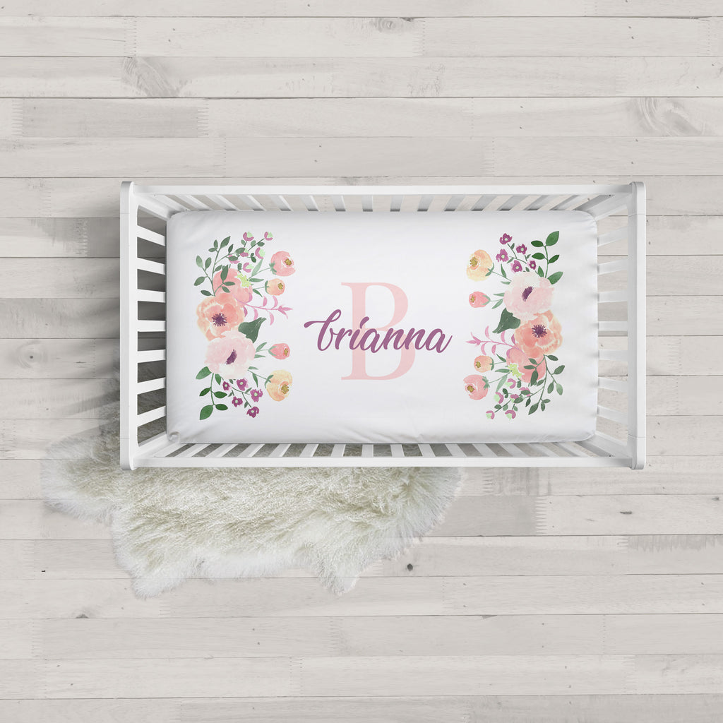 Brianna Floral Initial Minky Personalized Crib Sheet