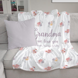 Dusty Blooms Personalized Blanket for Grandma