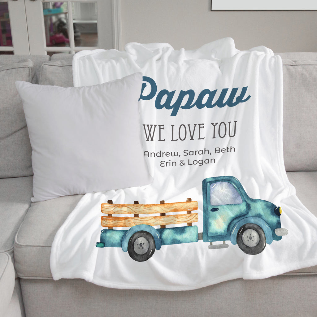 Blue Pickup Truck Personalized Adult Blanket Gift for Papaw