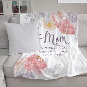 Blushing Blooms Personalized Blanket for Mom