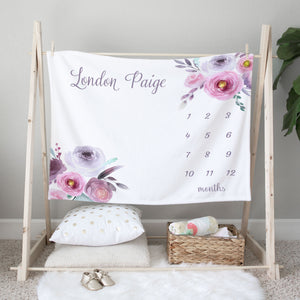 London Purple Floral Personalized Milestone Baby Blanket Baby Shower Gift for Girls