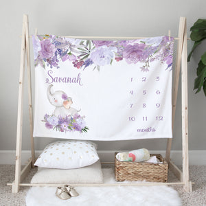 Savannah Purple Floral Elephant Personalized Milestone Baby Blanket for girls