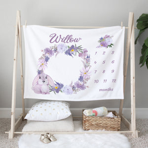 Willow Purple Bunny Personalized Milestone Baby Blanket Baby Shower Gift
