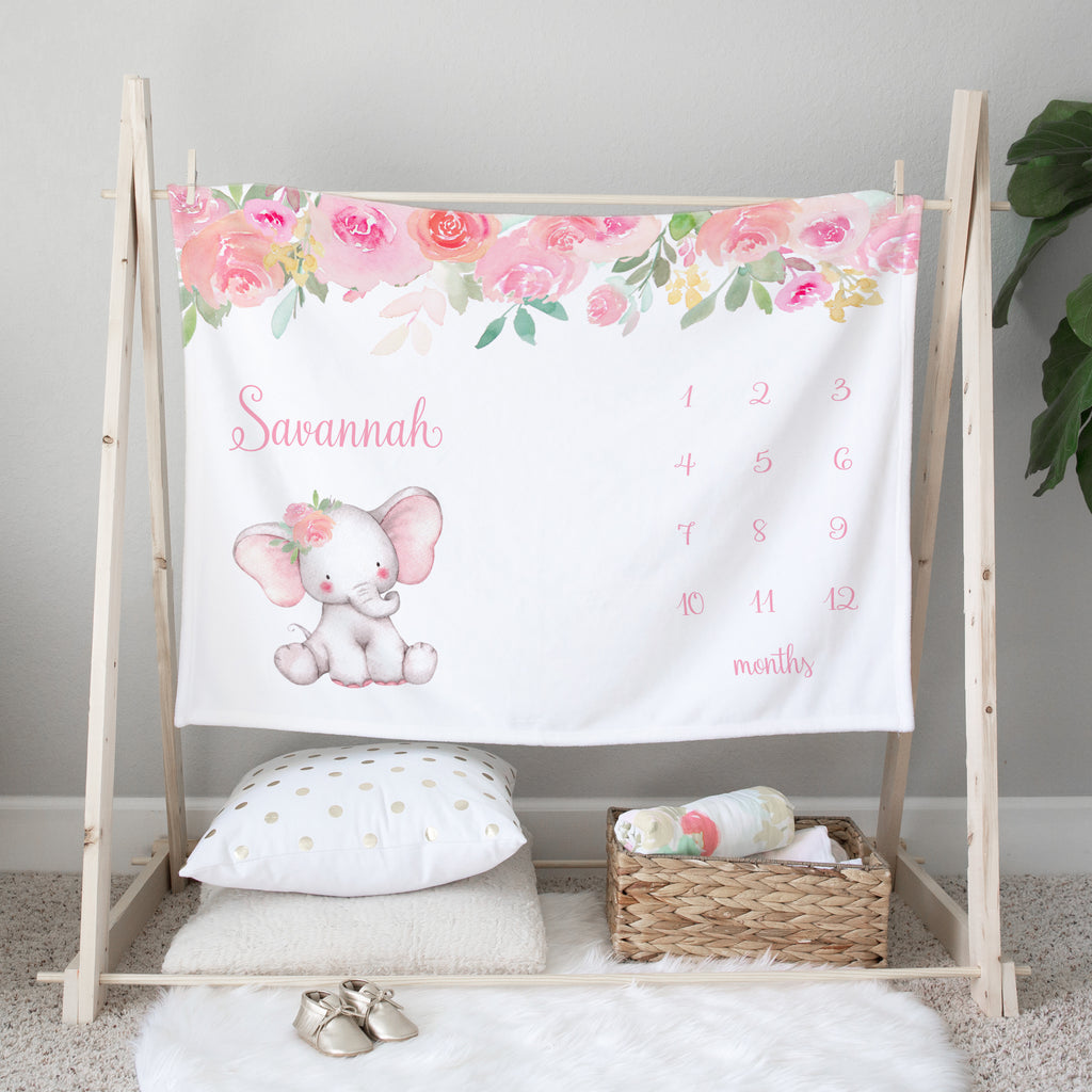 Pink Elephant Personalized Milestone Baby Blanket Baby Shower Gift