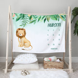 Jungle Lion Milestone Personalized Baby Blanket Baby Shower Gift