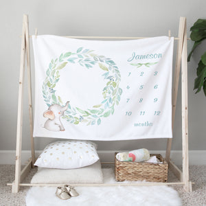 Jameson Elephant Wreath Personalized Custom Milestone Baby Blanket for Boys