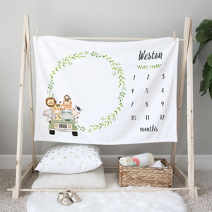 Weston Jungle Jeep Milestone Baby Blanket Baby Shower Gift for Boys