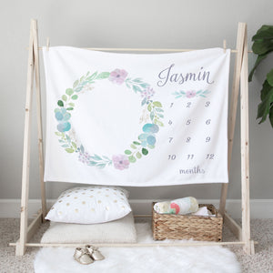 Jasmin Floral Wreath Personalized Milestone Baby Blanket for Baby Girls