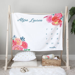 Alysa Bright Floral Milestone Baby Blanket Baby Shower Gift for Girls