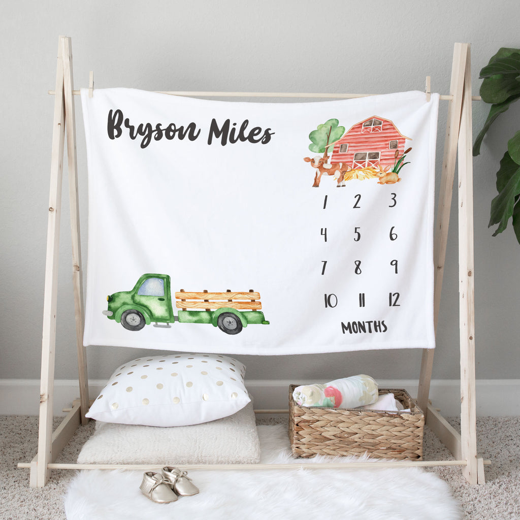 Little Green Truck Personalized Milestone Baby Blanket Baby Shower Gift for Boys