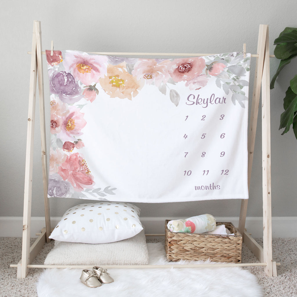 Skylar Flower Garden Personalized Monthly Milestone Baby Age Blanket for Baby Girls