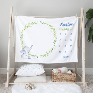 Easton Elephant Milestone Baby Blanket Baby Shower Gift