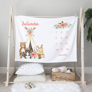 Juliana Tribal Personalized Milestone Baby Blanket Baby Shower Gift for Girls