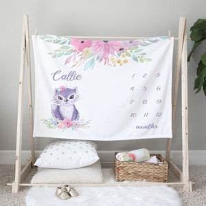 Callie Cat Milestone Personalized Baby Blanket Gift for Girls