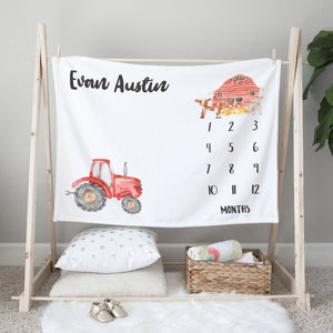 Little Red Tractor & Farm Animals Personalized Milestone Baby Blanket