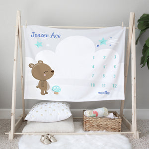 Baby Bear Personalized Milestone Baby Blanket for Boys
