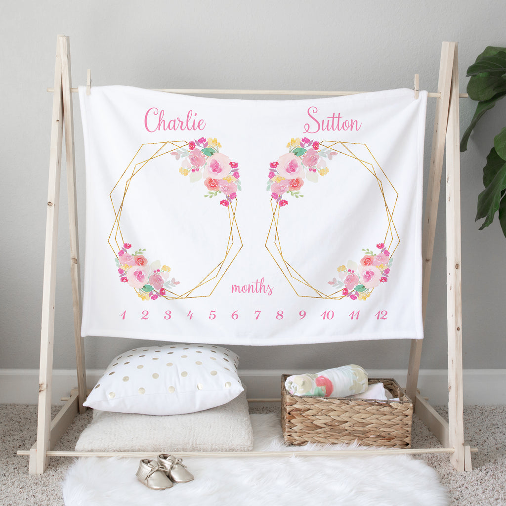 Floral Frames Milestone Baby Blanket for Twin Girls