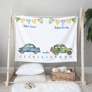 Cars & Trucks Milestone Minky Baby Blanket for Twin Boys
