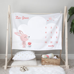 Pink Bunny Personalized Milestone Baby Blanket Baby Shower Gift for Girls