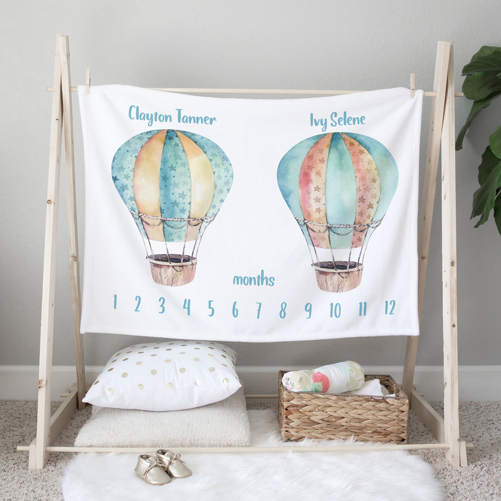 Hot Air Balloons Personalized Milestone Baby Blanket for Twins