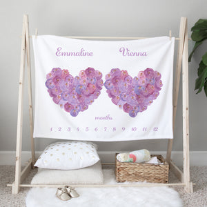 Purple Hearts Personalized Milestone Baby Blanket for Twins