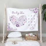 Purple Floral Milestone Minky Baby Blanket Baby Gift for Girls