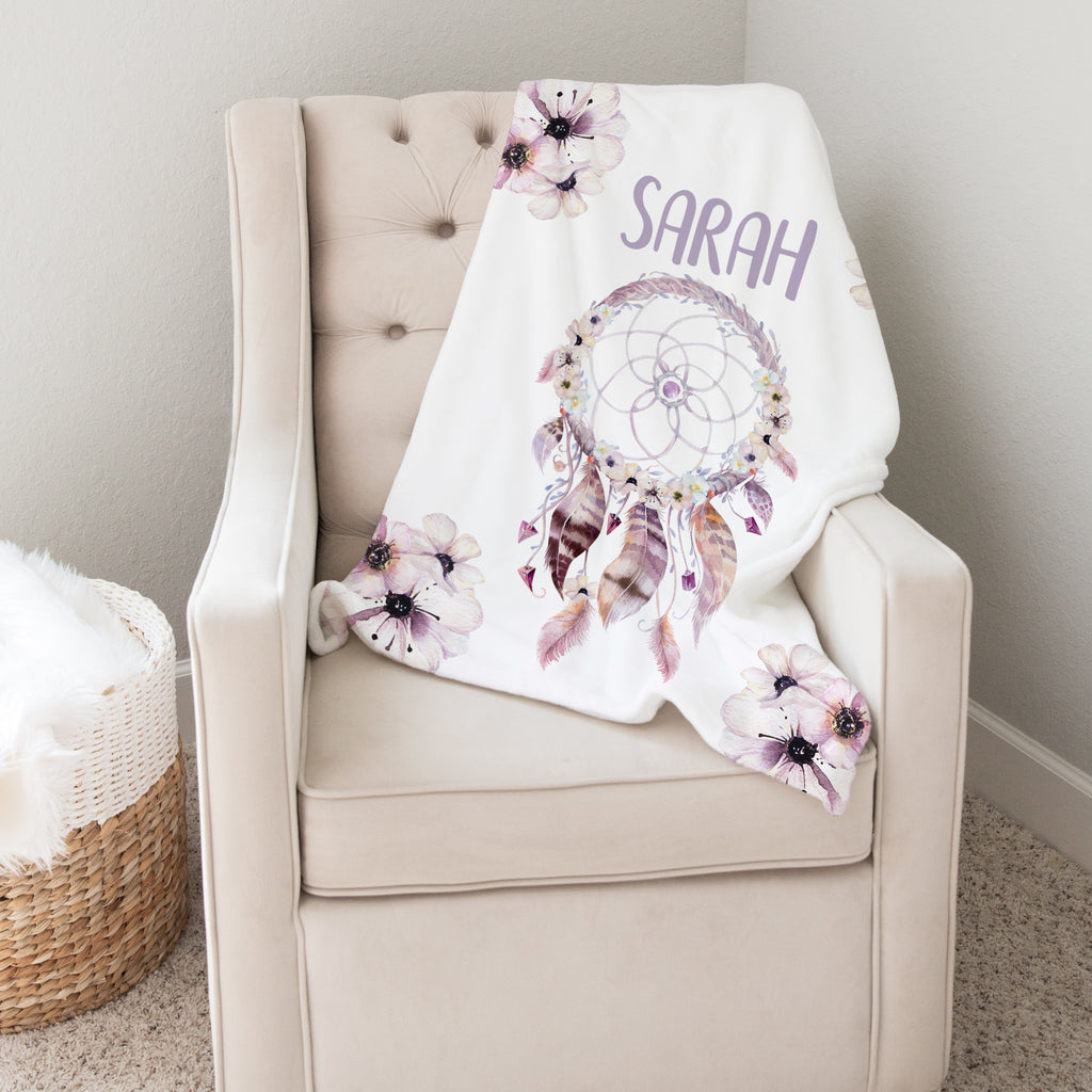 Dream Catcher Personalized Minky Blanket for Girls