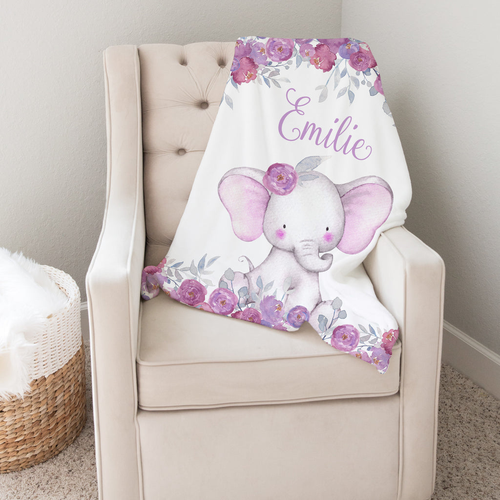 Purple Floral Elephant Personalized Minky Baby Blanket  for Girls