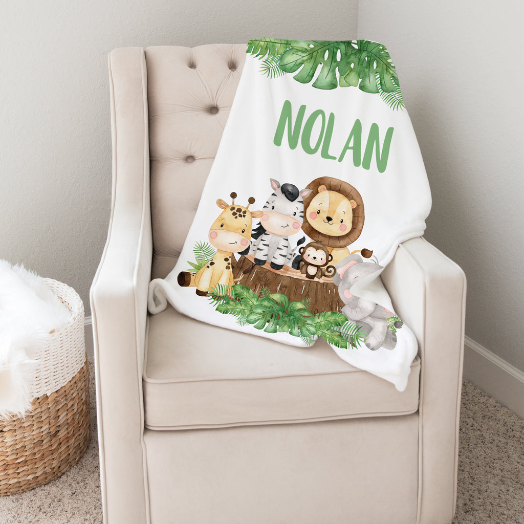 Jungle Animals Personalized Minky Baby Blanket for Boys