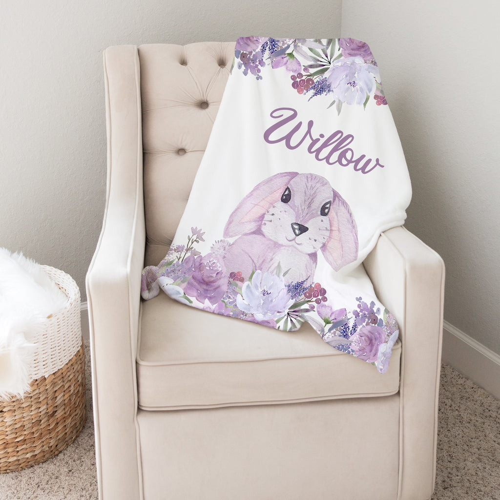 Purple Floral Watercolor Bunny Personalized Minky Blanket for Girls