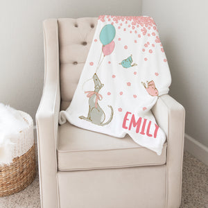 Vintage Balloons Personalized Minky Blanket for Girls