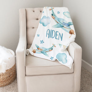 Blue Airplanes Personalized Minky Blanket for Boys