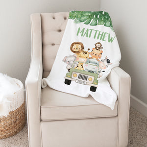 Jungle Safari Animals Personalized Minky Baby Blanket Boy Nursery Decor