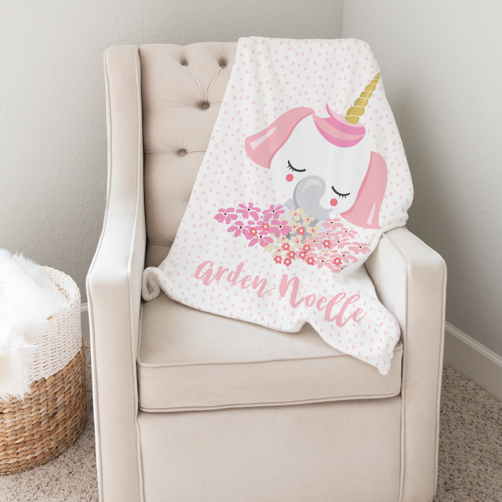 Pink Elephant Personalized Minky Blanket for Girls