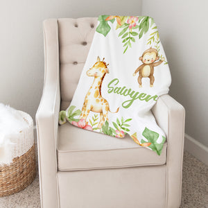 Swinging Monkey Personalized Minky Blanket Baby Nursery Decor