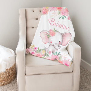 Pink Floral Elephant Personalized Minky Baby Blanket Nursery Decor