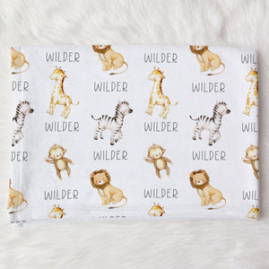 Wilder Safari Animals Personalized Name Baby Blanket