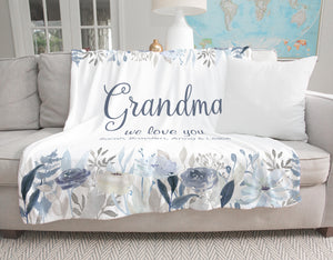 Fields of Blue Personalized Blanket Gift for Grandma