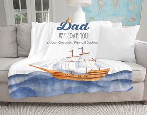 Ocean Blue Personalized Adult Blanket Blanket for Dad