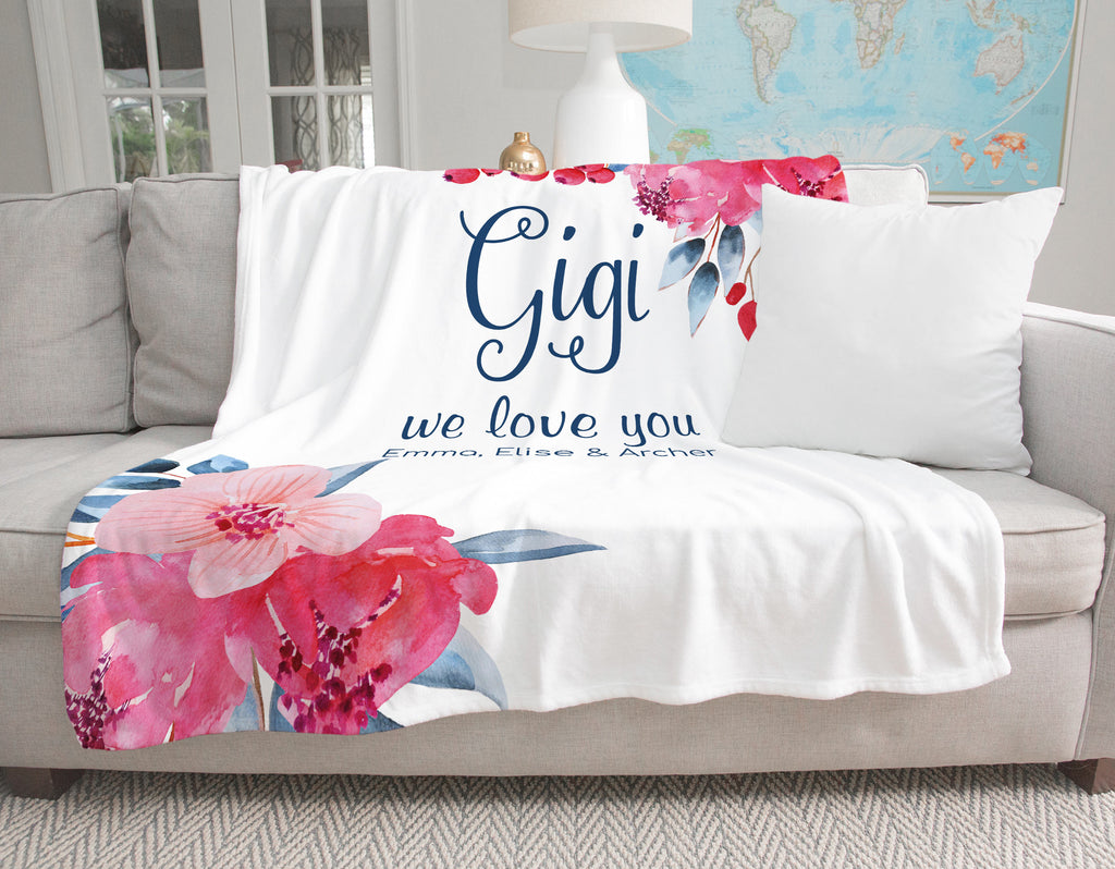 Beautiful Blooms Personalized Adult Blanket Gigi Gift