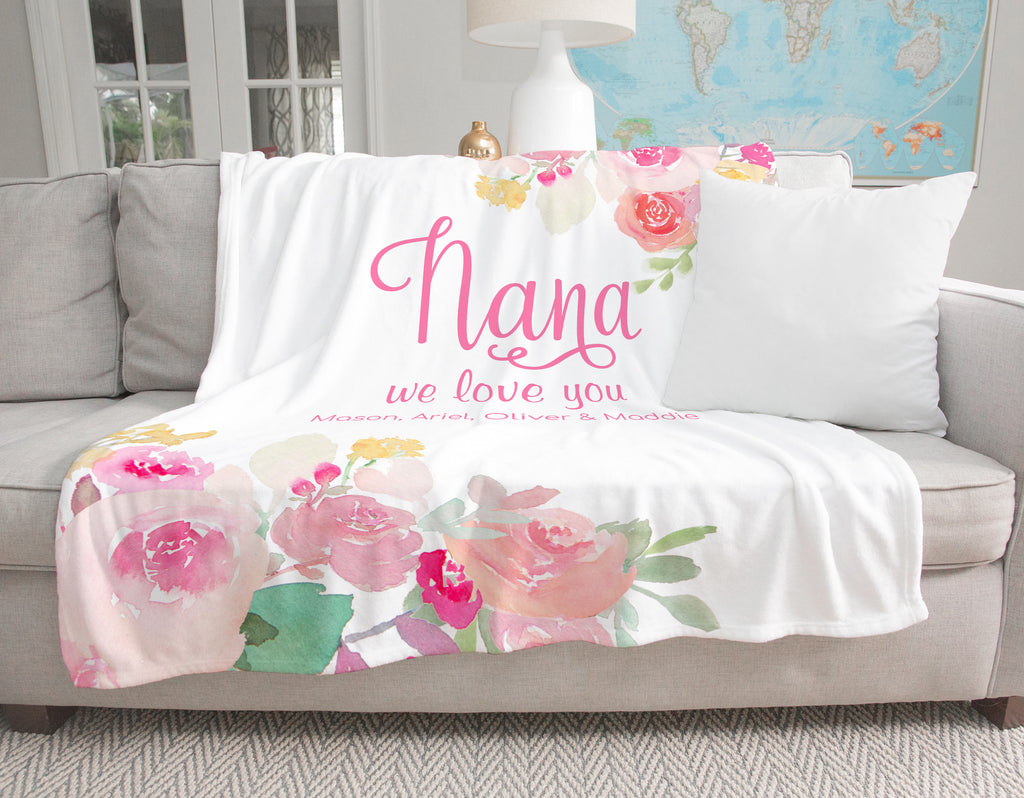 Pink Gardens Personalized Adult Blanket for Nana