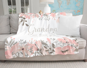 Pretty in Pink Personalized Adult Blanket for Grandma