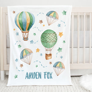 Hot Air Balloon Personalized Minky Blanket for Kids