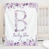 Purple Floral Initial Personalized Minky Blanket for Girls