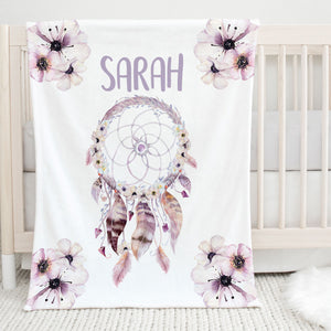 Purple Dream Catcher Personalized Minky Blanket for Kids