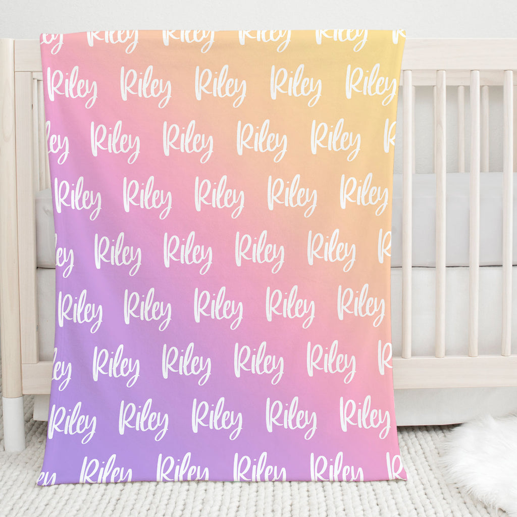 Sweet Dreams Rainbow Personalized Name Blanket Baby Shower Gift