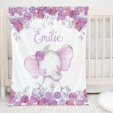Purple Floral Elephant Personalized Minky Blanket for Girls