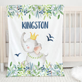 Kingston Elephant Personalized Minky Blanket for boys