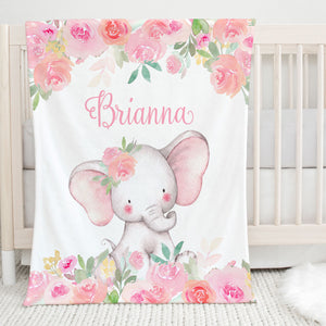 Pink Floral Elephant Personalized Minky Blanket for Girls